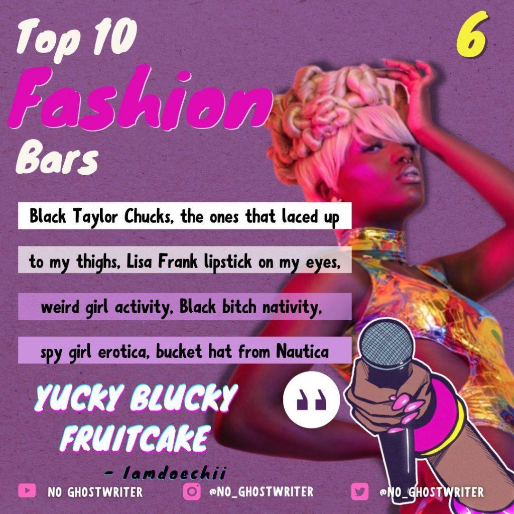#6: Iamdoechii - 'Yucky Blucky Fruitcake'